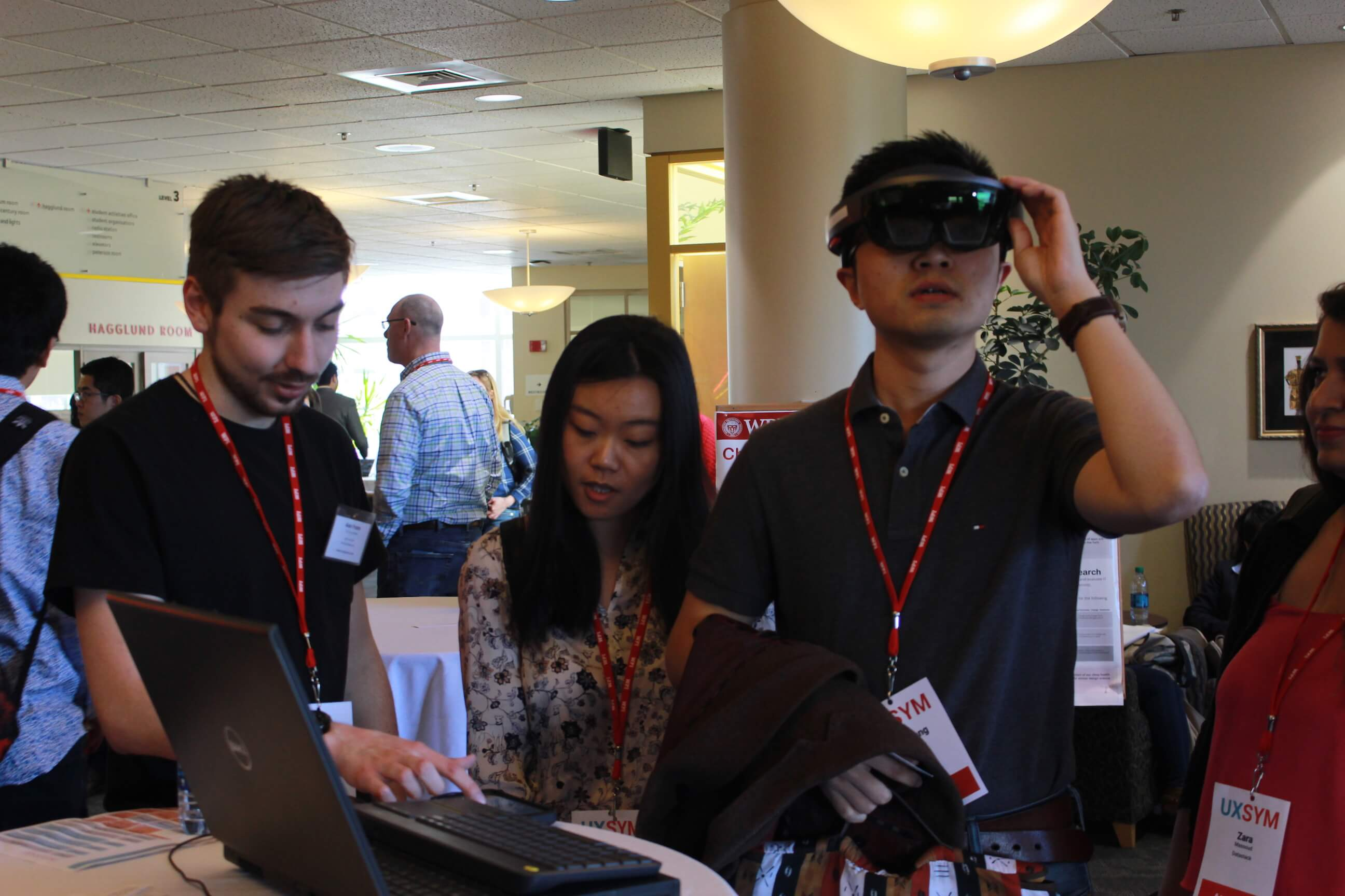 An attendee tries on a Microsoft Holo-Lens